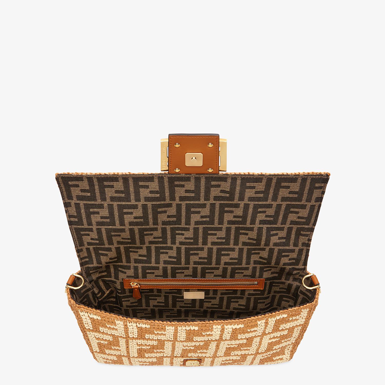 FENDI BAGUETTE LARGE - Ochre FF raffia bag - view 4 detail