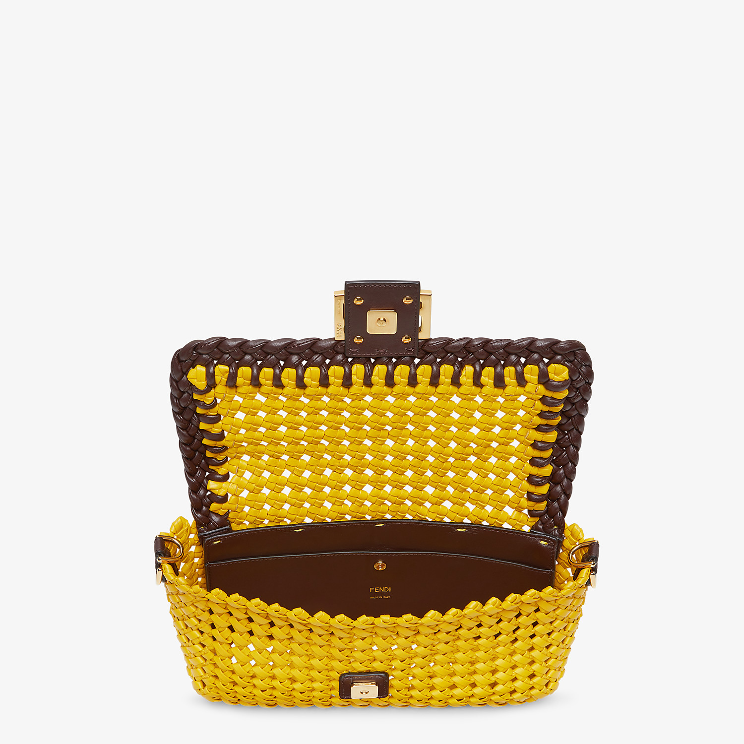 FENDI BAGUETTE - Yellow leather interlace bag - view 4 detail