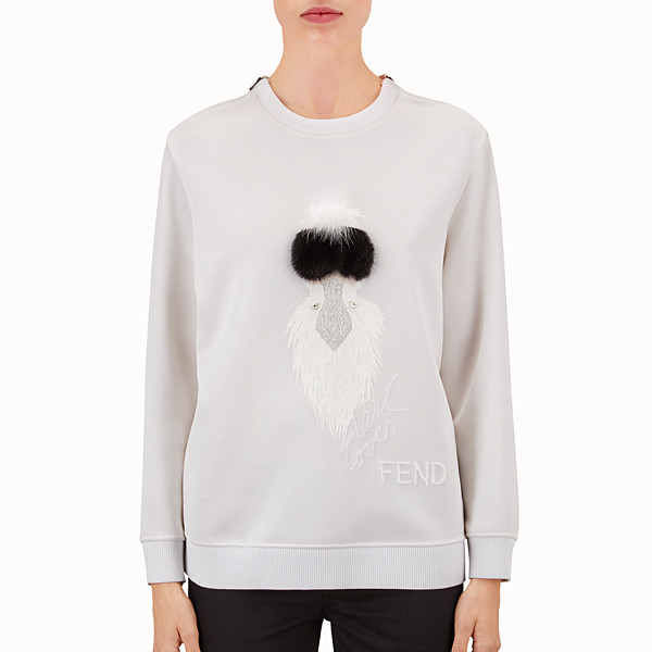 FENDI SWEAT-SHIRT - en jersey blanc brodé de fourrure - view 1 small thumbnail