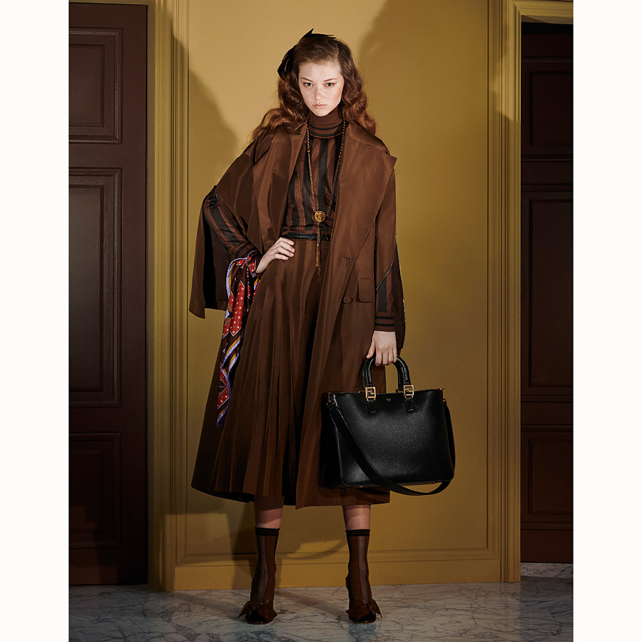 FENDI OVERCOAT - Brown faille trench coat - view 4 detail