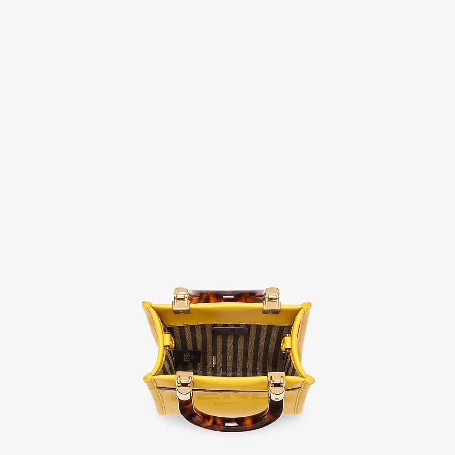 FENDI MINI SUNSHINE SHOPPER - Yellow leather mini-bag - view 4 detail