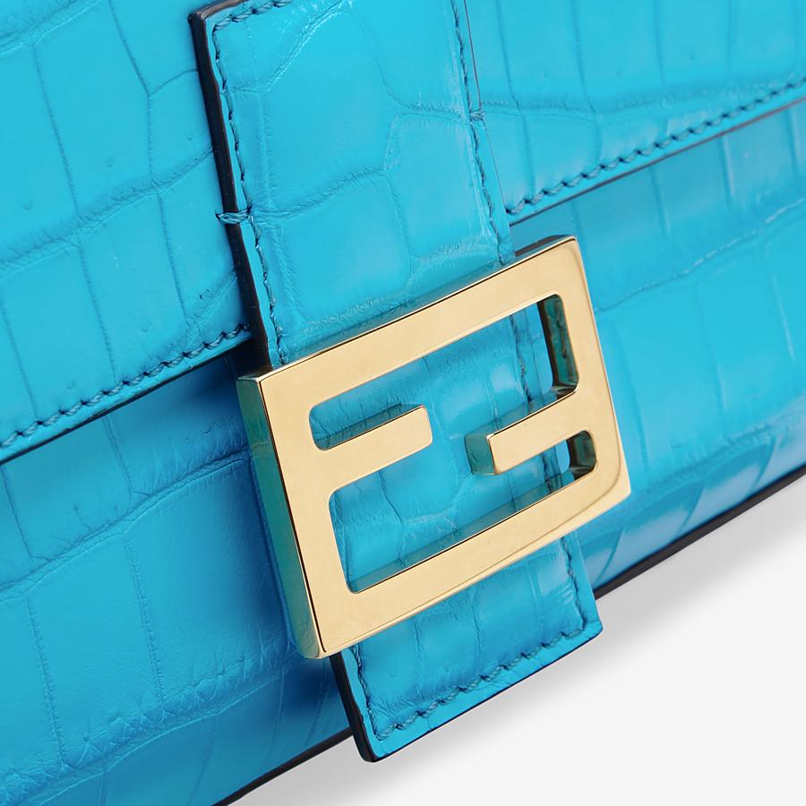 FENDI BAGUETTE - Light blue crocodile leather bag - view 5 detail