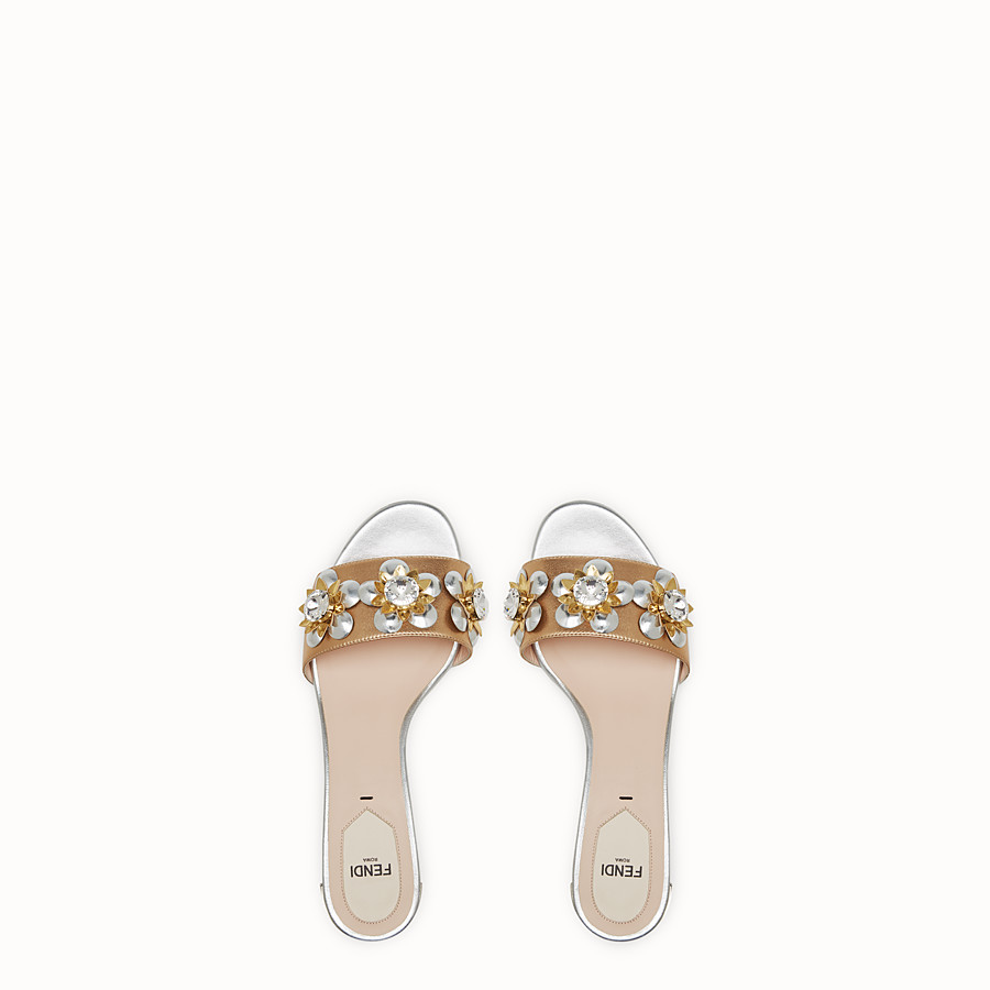 FENDI SANDALS - in laminated nappa with flowers - view 4 detail