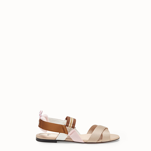 FENDI SANDALS - Beige tech fabric flats - view 1 small thumbnail