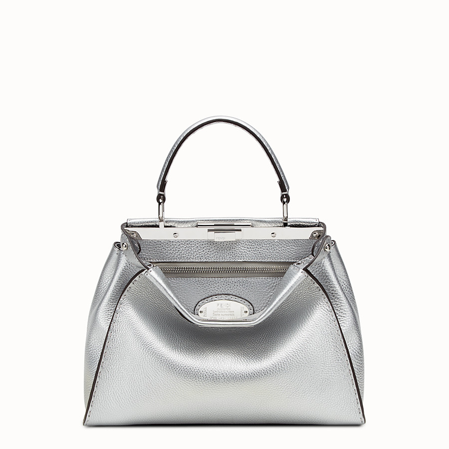 FENDI PEEKABOO REGULAR - 銀色羅馬皮革手提包 - view 1 detail