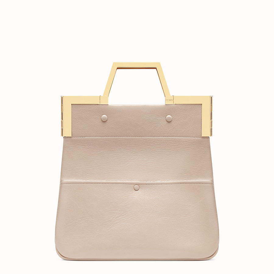 FENDI SMALL FLAT SHOPPING BAG - Pink leather shopper - view 1 detail