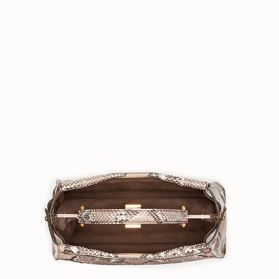 FENDI PEEKABOO REGULAR - rock-coloured python handbag - view 4 detail