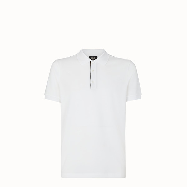 FENDI POLO SHIRT - White piqué polo shirt - view 1 small thumbnail