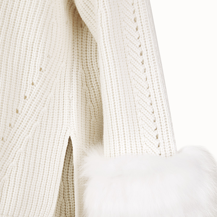 FENDI PULLOVER - White cashmere jumper - view 3 detail