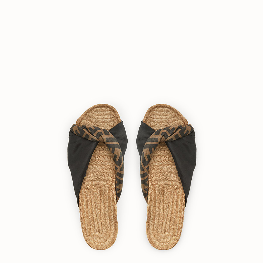 FENDI SANDALS - Black satin slides - view 4 detail