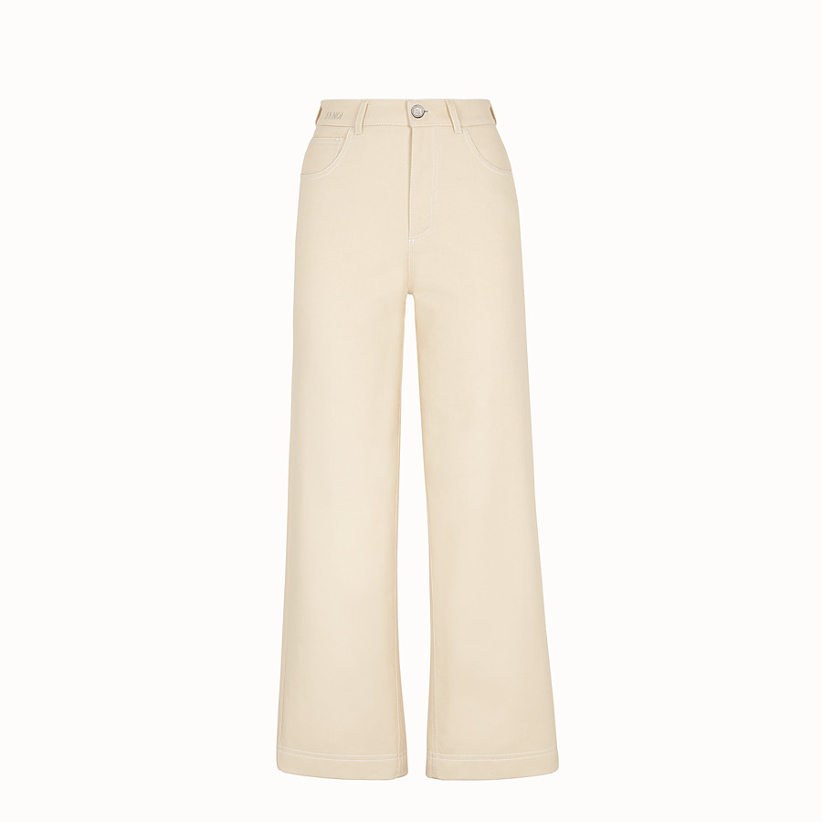 FENDI TROUSERS - Beige cotton trousers - view 1 detail