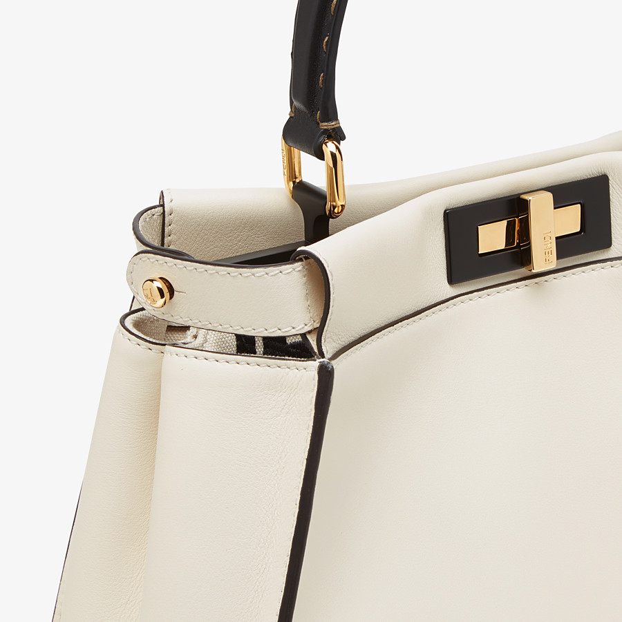 FENDI PEEKABOO ICONIC MEDIUM - White leather and FF embroidery bag - view 6 detail