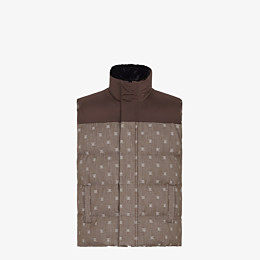 FENDI GILET - Brown jacquard fabric gilet - view 1 thumbnail