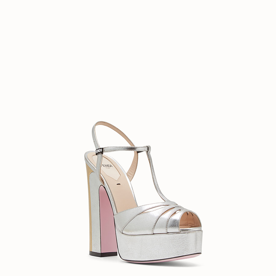 FENDI SANDALS - High-heeled sandals in silver leather - view 2 detail
