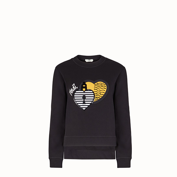 FENDI SWEATSHIRT - Black cotton sweatshirt - view 1 small thumbnail