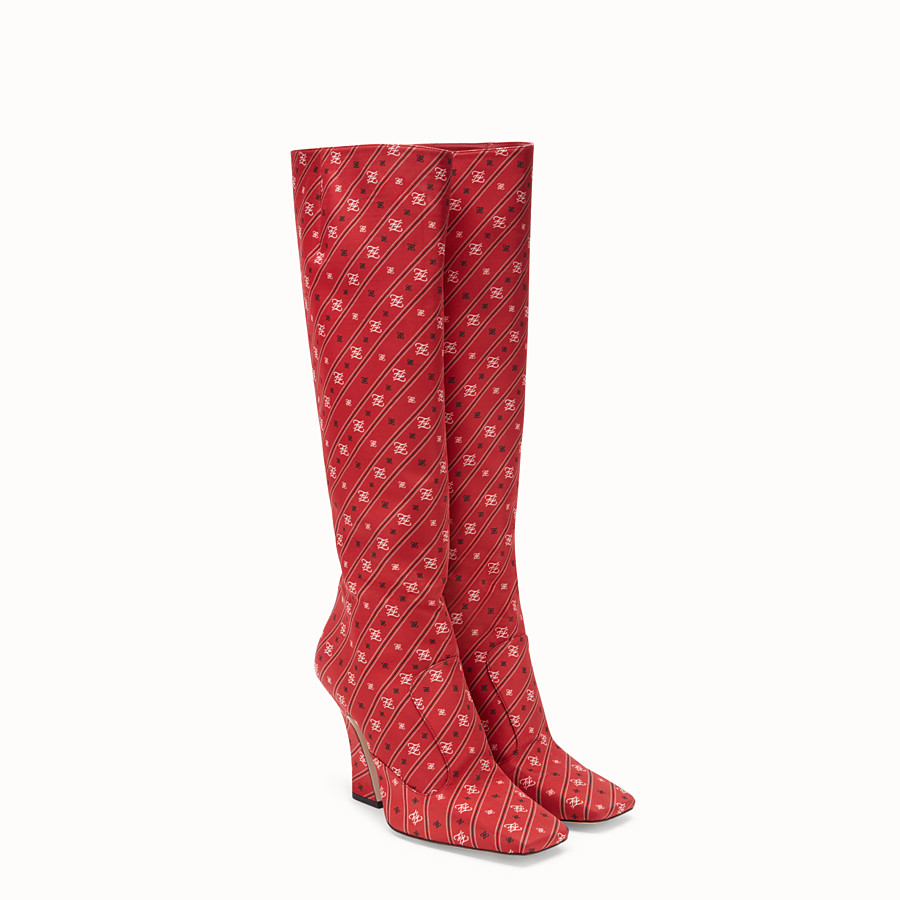 FENDI BOOTS - Pink fabric boots - view 4 detail