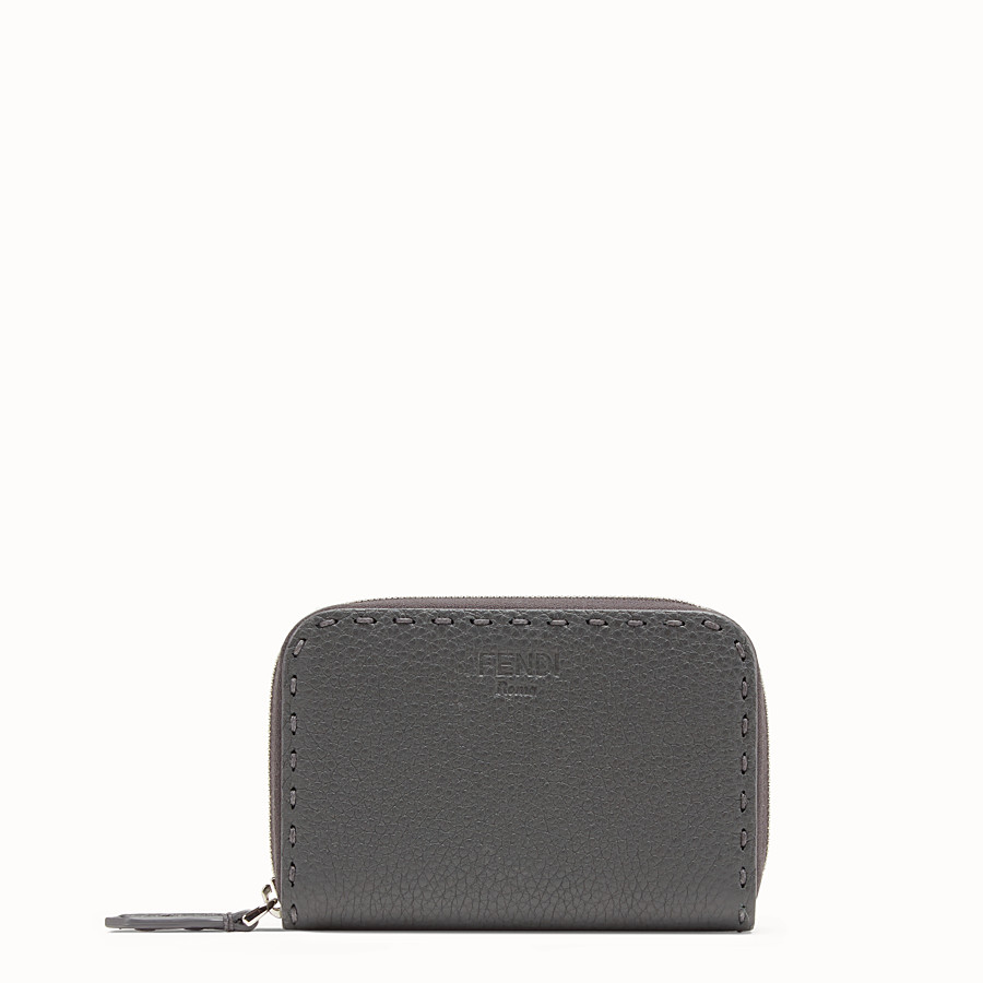 FENDI SMALL ZIP-AROUND - Grey leather wallet - view 1 detail