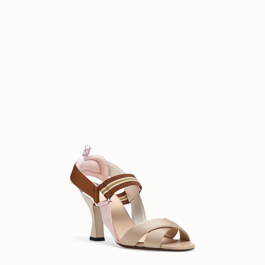 FENDI SANDALS - Beige tech fabric sandals - view 2 detail