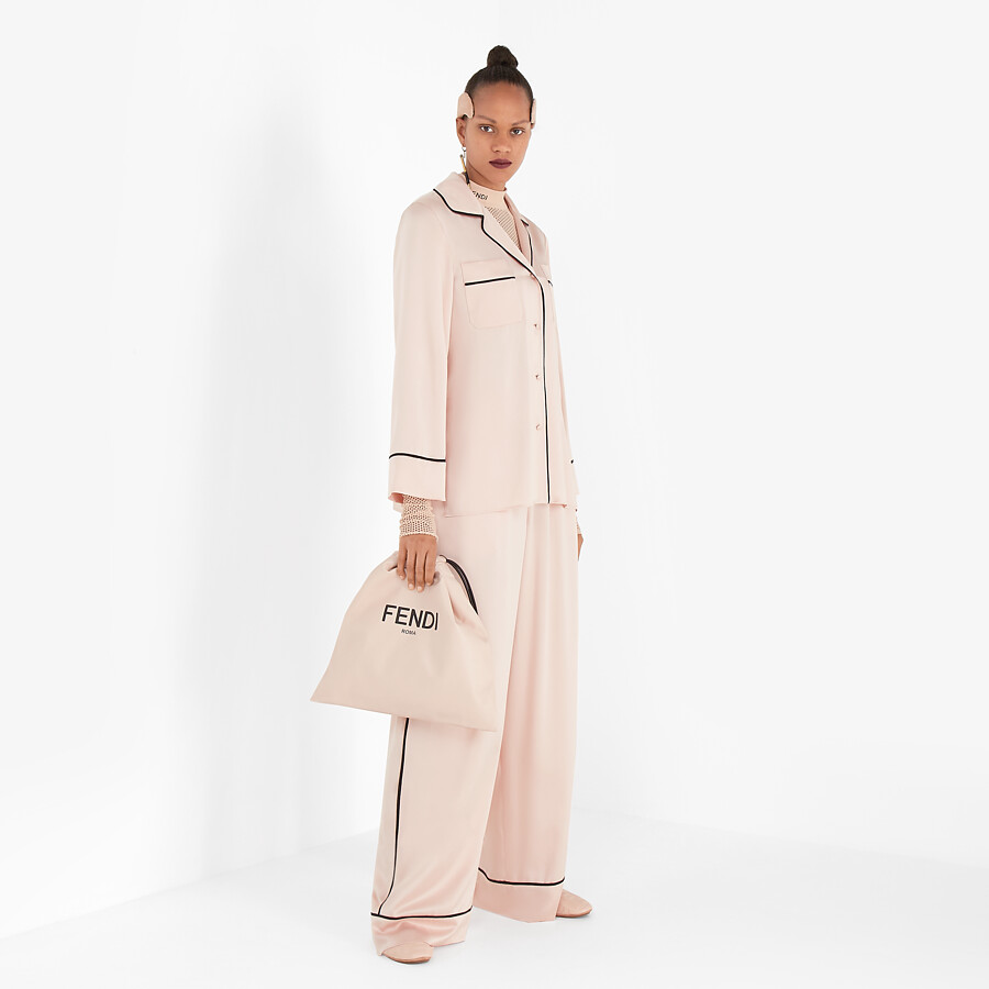 FENDI SLIPPERS - Pink nappa leather slippers - view 6 detail