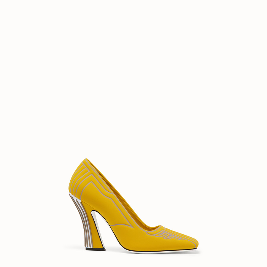 FENDI COURT SHOES - Court shoes in yellow fabric - view 1 detail
