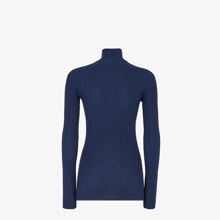 FENDI PULLOVER - Blue wool and silk jumper - view 2 detail