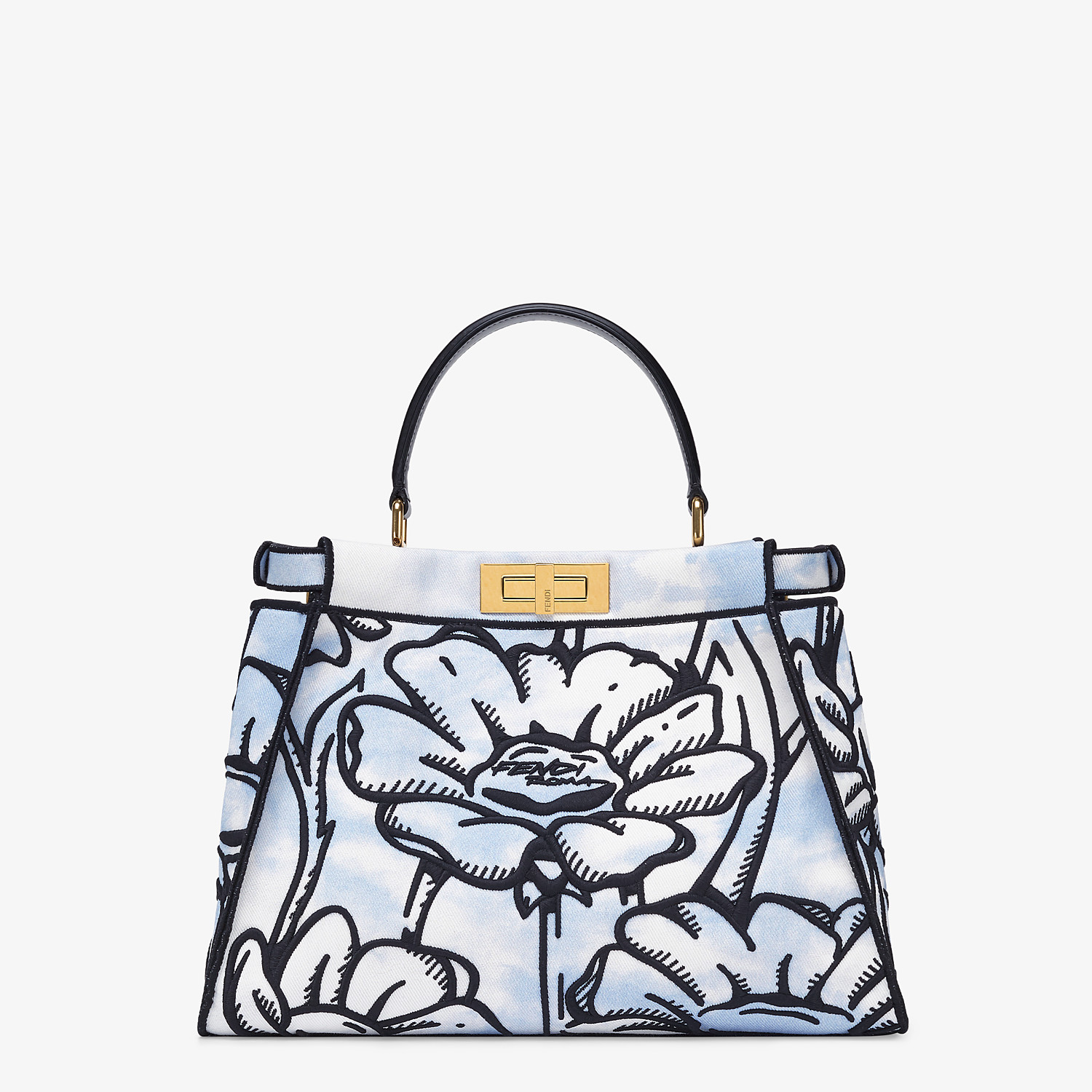 FENDI PEEKABOO ICONIC MEDIUM - Light blue denim and floral embroidery bag - view 4 detail