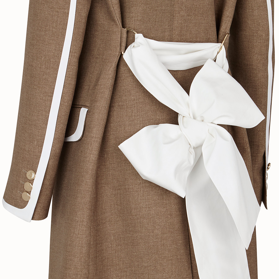 FENDI COAT - Beige silk and wool coat - view 3 detail