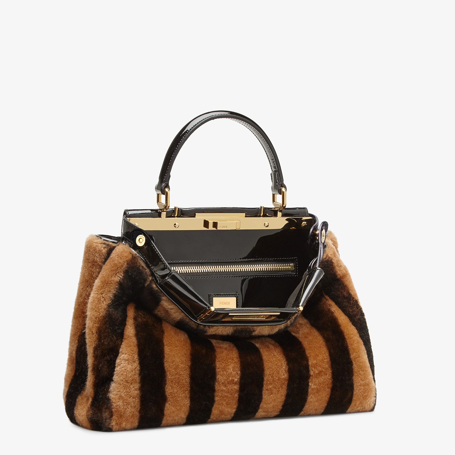 FENDI PEEKABOO ICONIC MEDIUM - Borsa in montone e vinile multicolor - vista 4 dettaglio