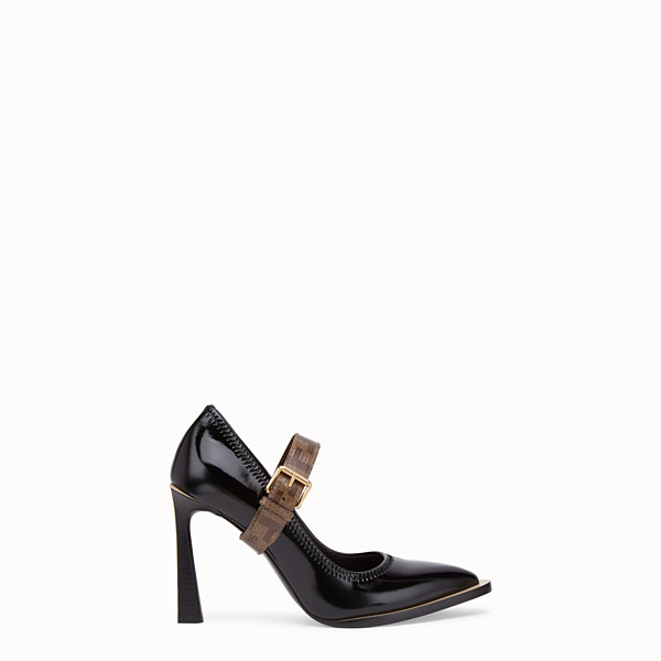 FENDI COURT SHOES - Mary Jane in glossy black neoprene - view 1 small thumbnail