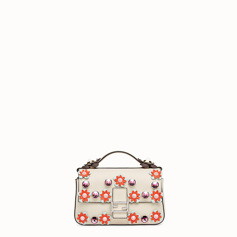 FENDI DOUBLE MICRO BAGUETTE - Micro bag in white leather with flowers - view 1 detail