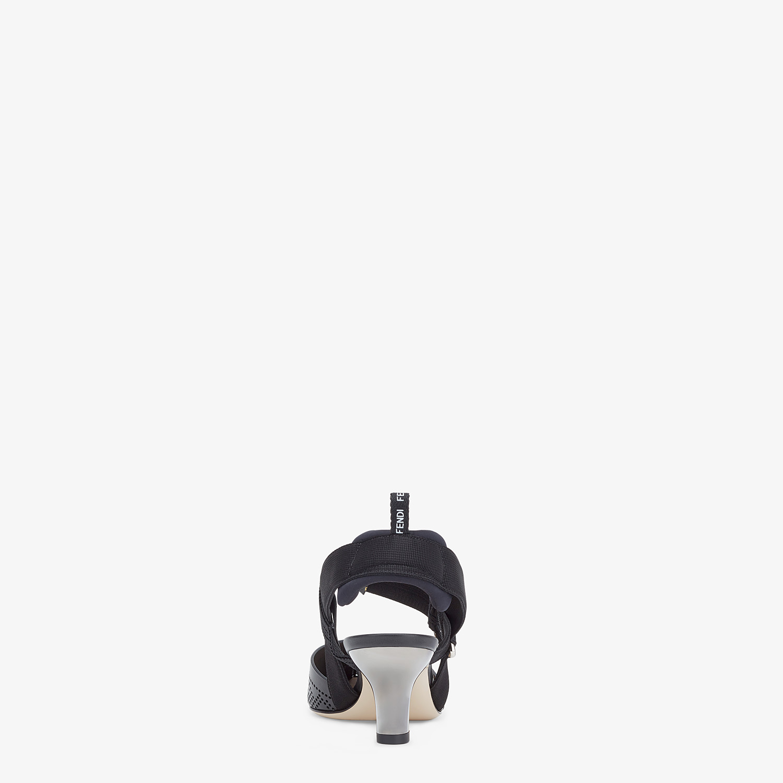 FENDI SLINGBACKS - Black leather, medium heel slingbacks - view 3 detail
