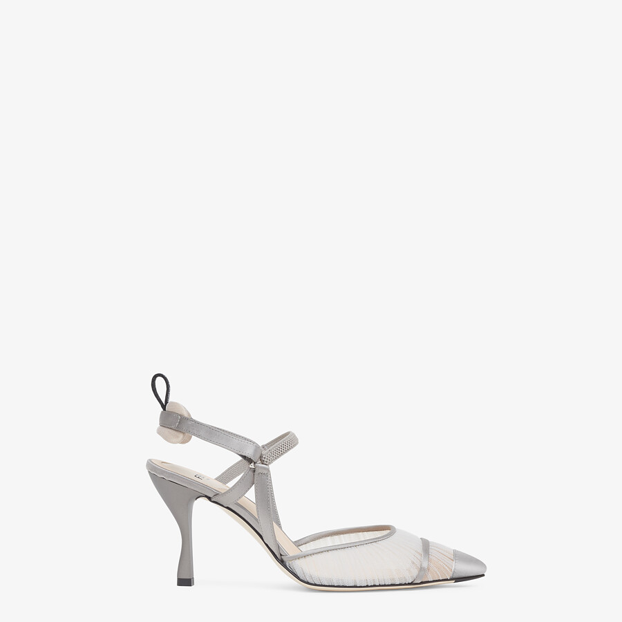 FENDI SLINGBACK - Grey tulle and satin Colibrì - view 1 detail