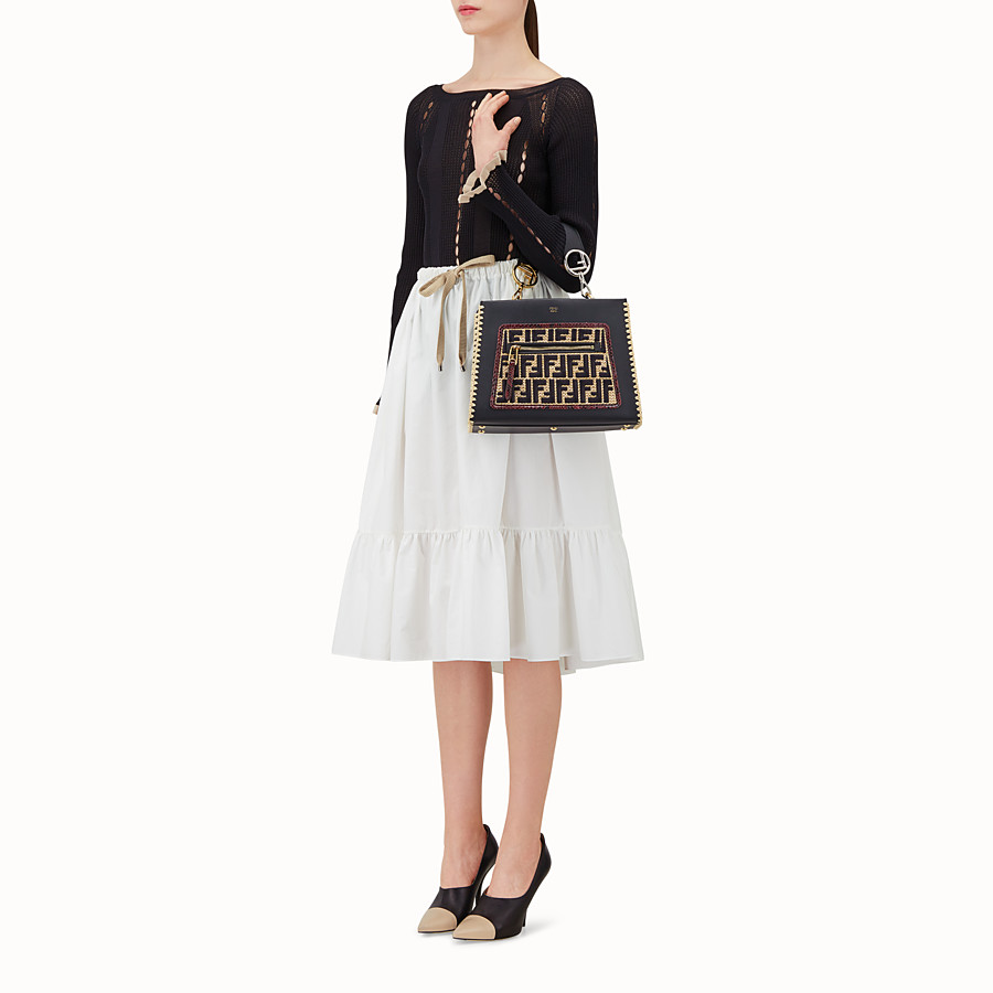 FENDI RUNAWAY SMALL - Black leather bag with exotic details - view 6 detail