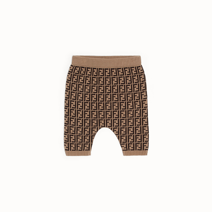 FENDI PANTALON - Tobacco cotton and cashmere baby trousers - view 1 detail