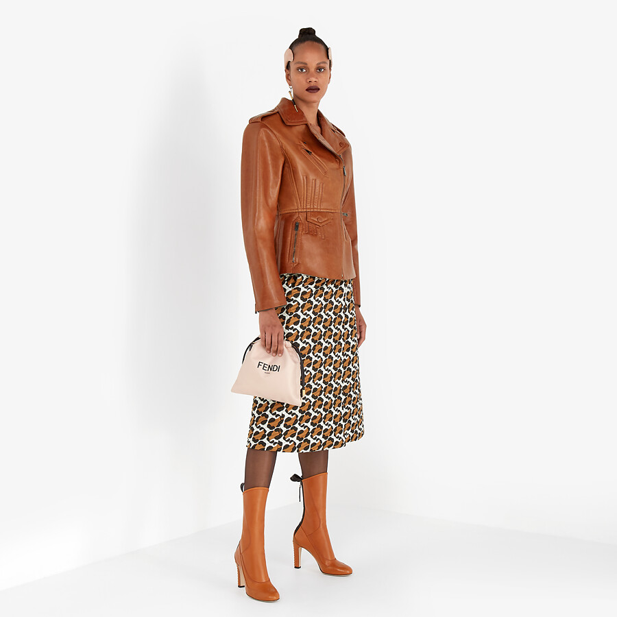 FENDI JACKET - Brown leather biker jacket - view 4 detail