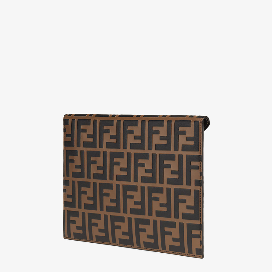 FENDI FLAT POUCH - Brown leather pouch - view 2 detail