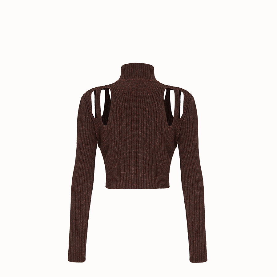 FENDI PULLOVER - Brown cashmere and wool jumper - view 2 detail