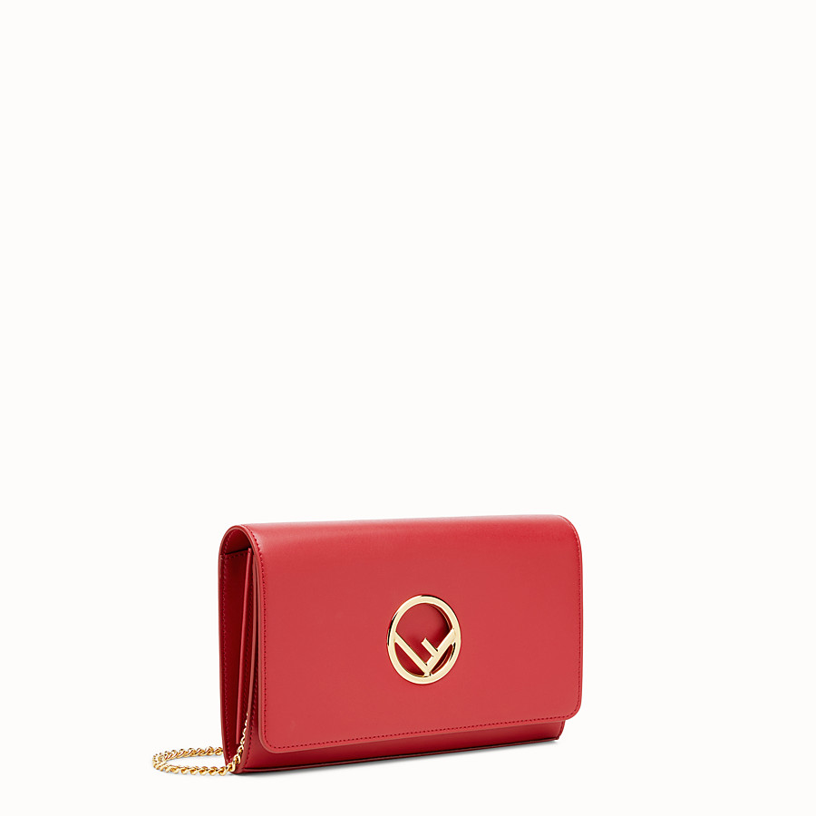 FENDI WALLET ON CHAIN - Mini-bag in red leather - view 2 detail