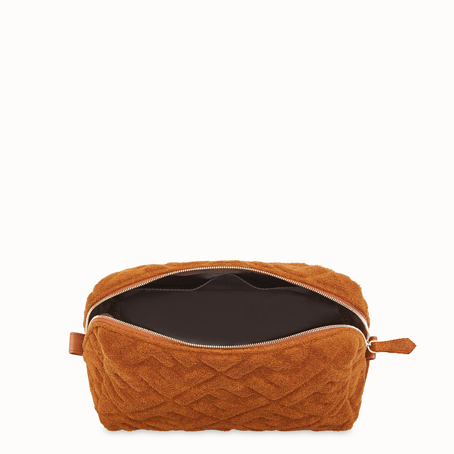 FENDI MEDIUM BEAUTY POUCH - Brown towelling toiletry case - view 3 detail