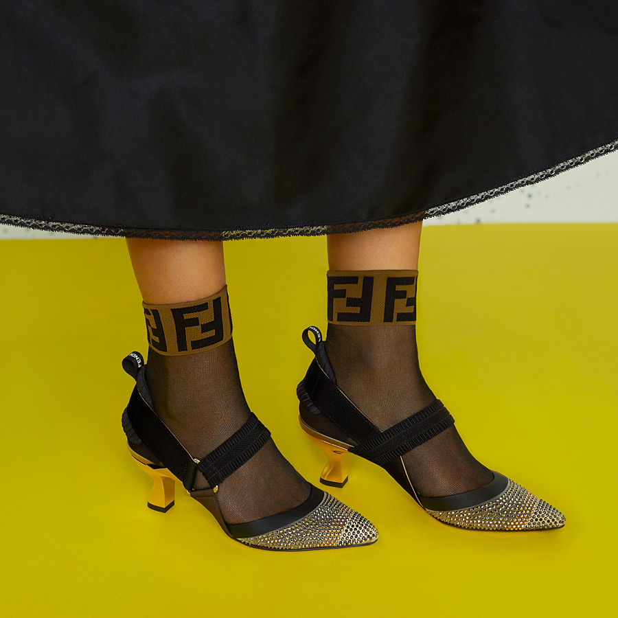 FENDI PUMPS - Beige mesh slingbacks - view 5 detail