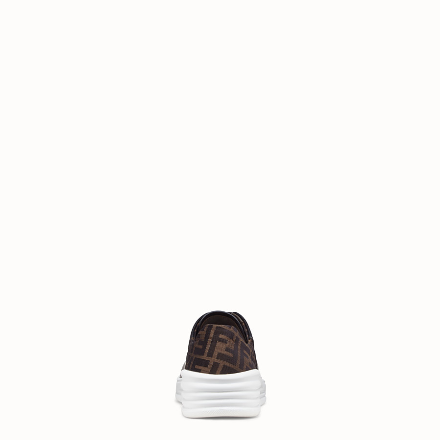 FENDI SNEAKERS - Black leather low-tops - view 3 detail