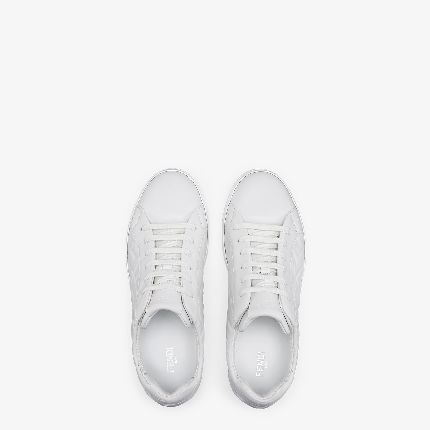 FENDI SNEAKERS - White nappa leather low-tops - view 4 detail