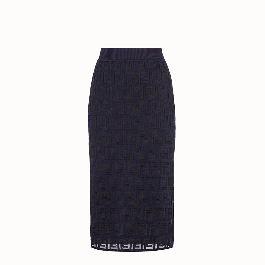 FENDI SKIRT - Blue cotton skirt - view 1 detail