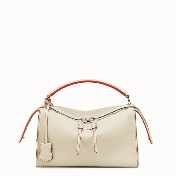 FENDI LEI SELLERIA BAG - white Roman leather Boston bag - view 1 small thumbnail