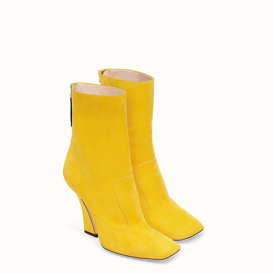 FENDI BOOTS - Yellow nubuck booties - view 4 detail