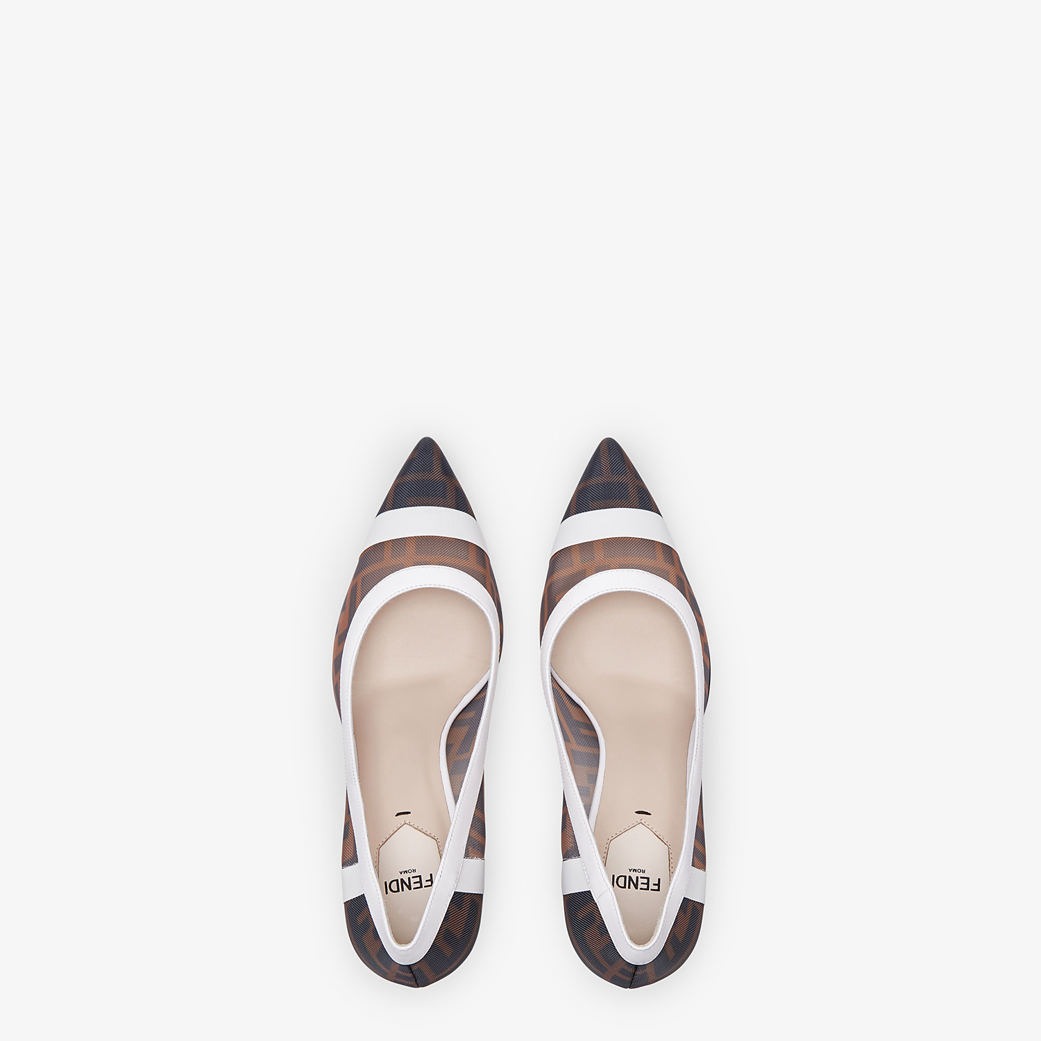 FENDI PUMPS - Mesh and white leather court shoes - view 4 detail