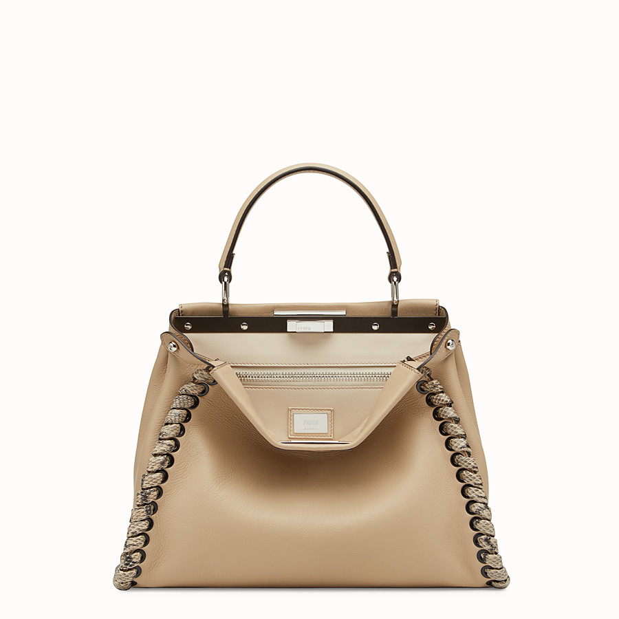 FENDI PEEKABOO REGULAR - Beige leather bag with exotic details - view 1 detail
