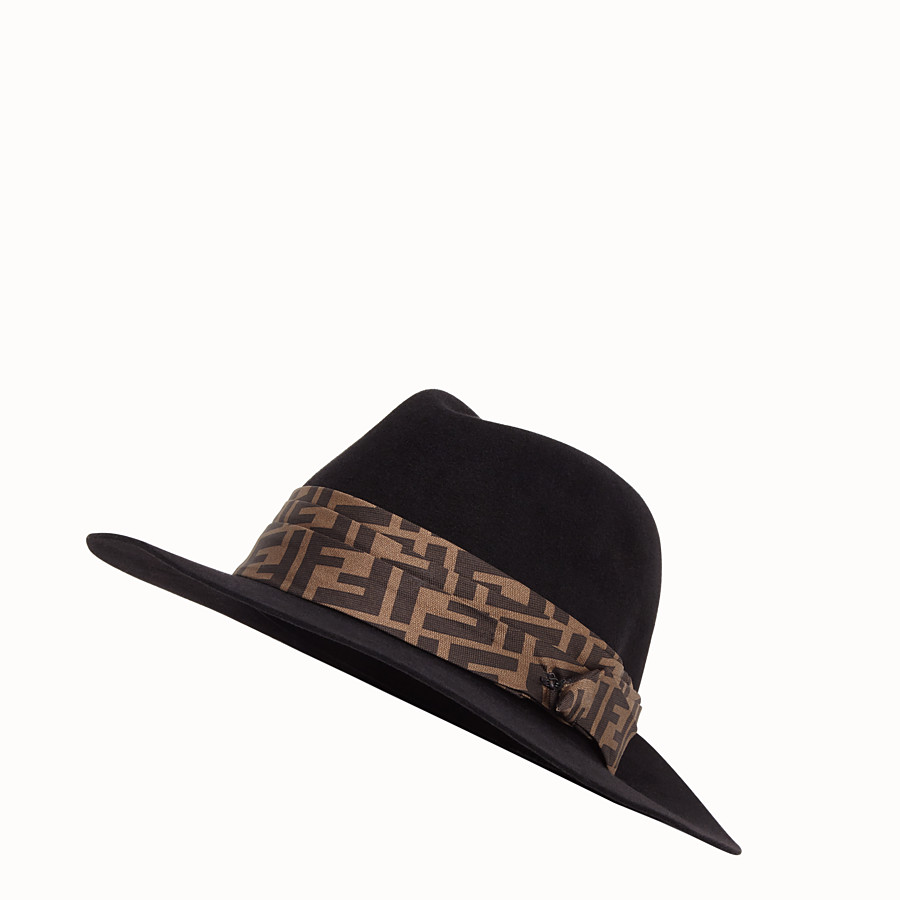 FENDI HAT - Black hat in silk and wool - view 1 detail