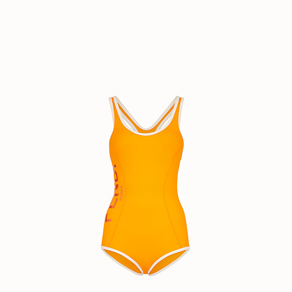 FENDI ONE-PIECE SWIMSUIT - Orange tech fabric swimsuit - view 1 small thumbnail