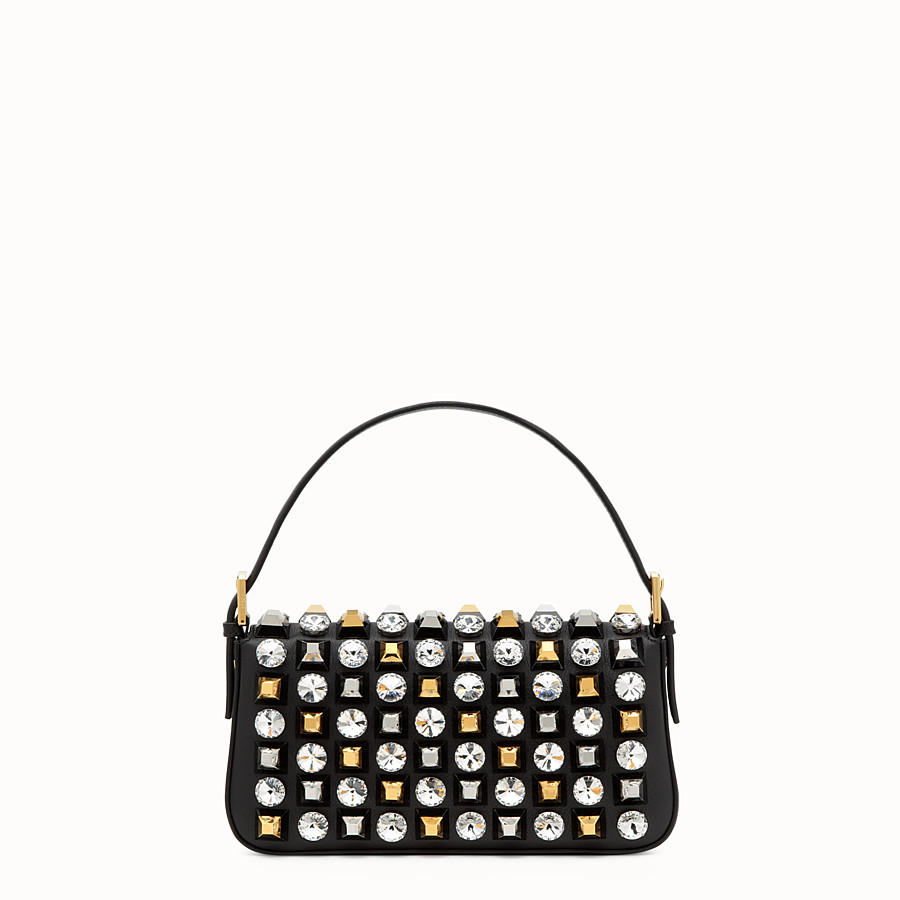 FENDI BAGUETTE - leather shoulder bag with studs and rhinestones - view 3 detail